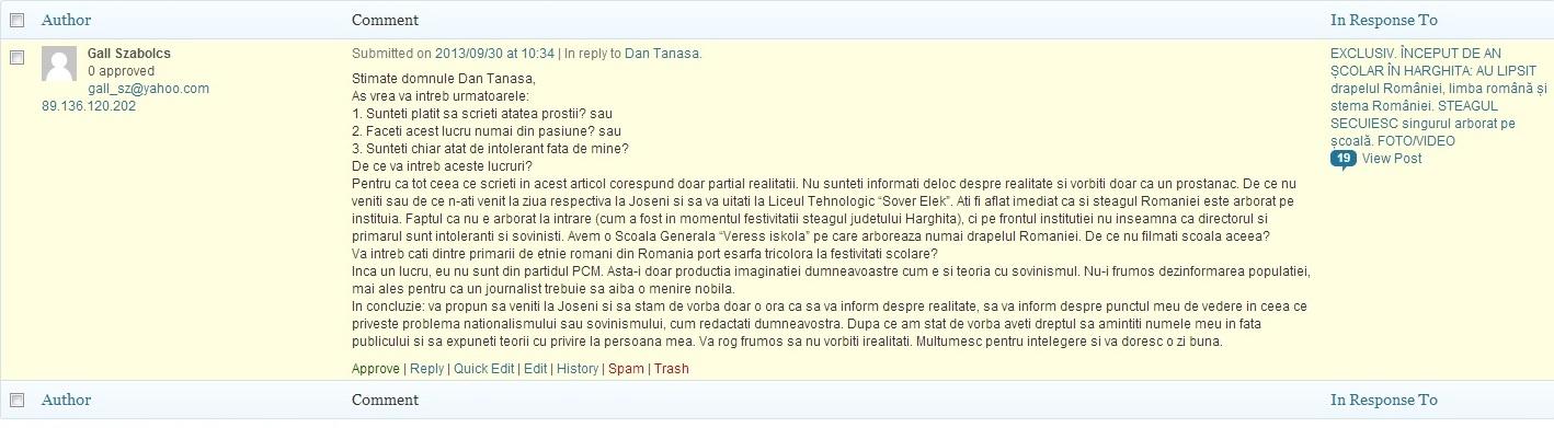 Gall Szabolcs comentariu blog Dan Tanasa Joseni