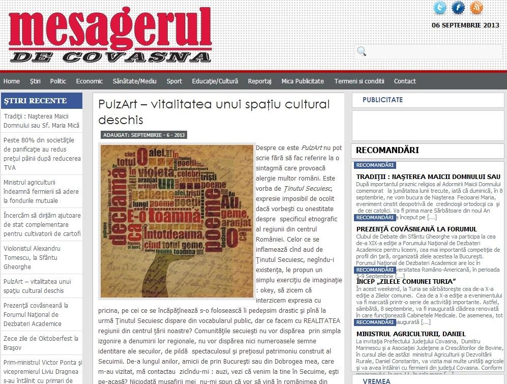 Mesagerul de Covasna apologia tinutului secuiesc ungaria mare pulsz art