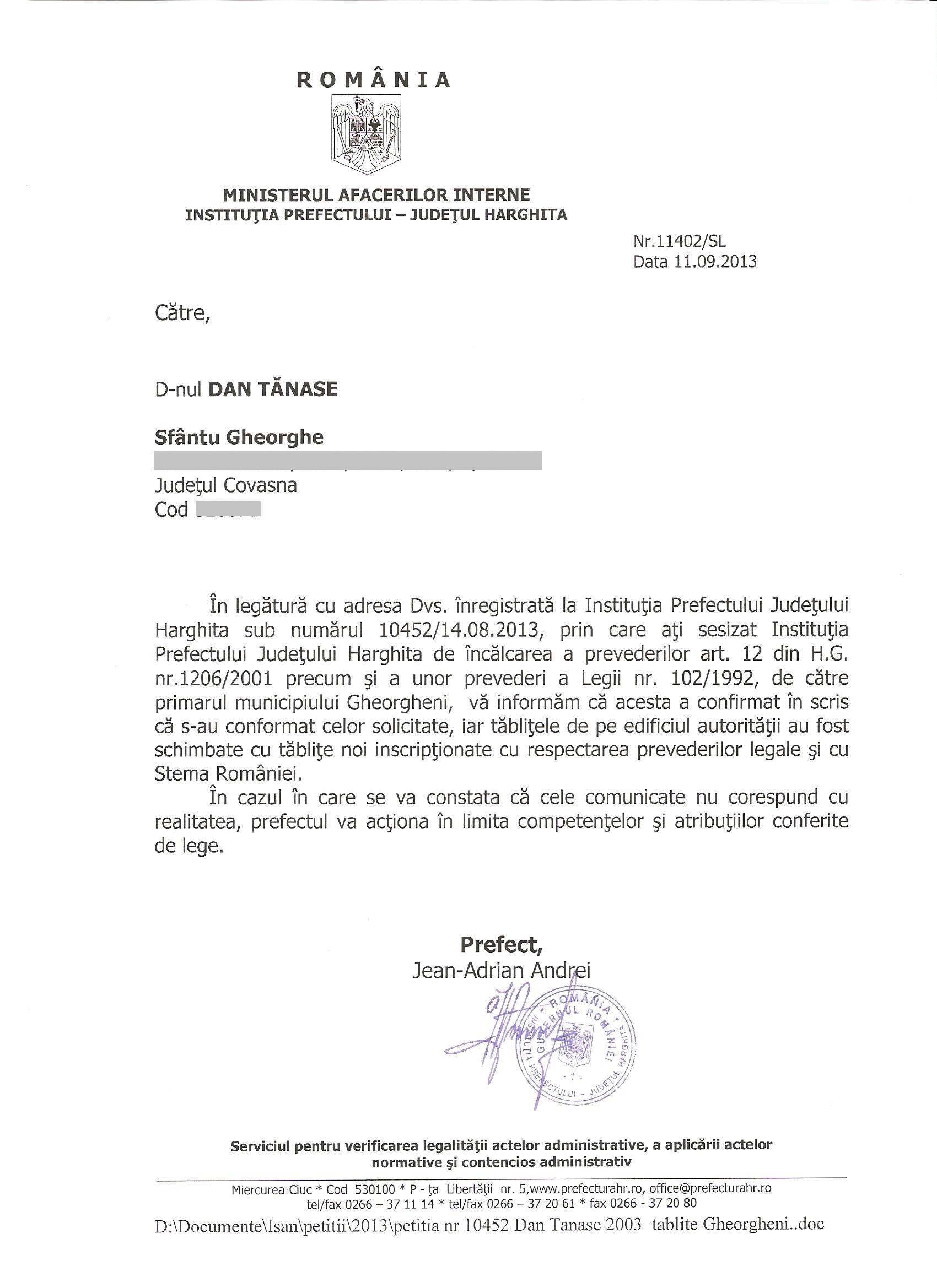 Prefect Harghita Primar Gheorgheni Mezey Janos Dan Tanasa placute stema Romaniei
