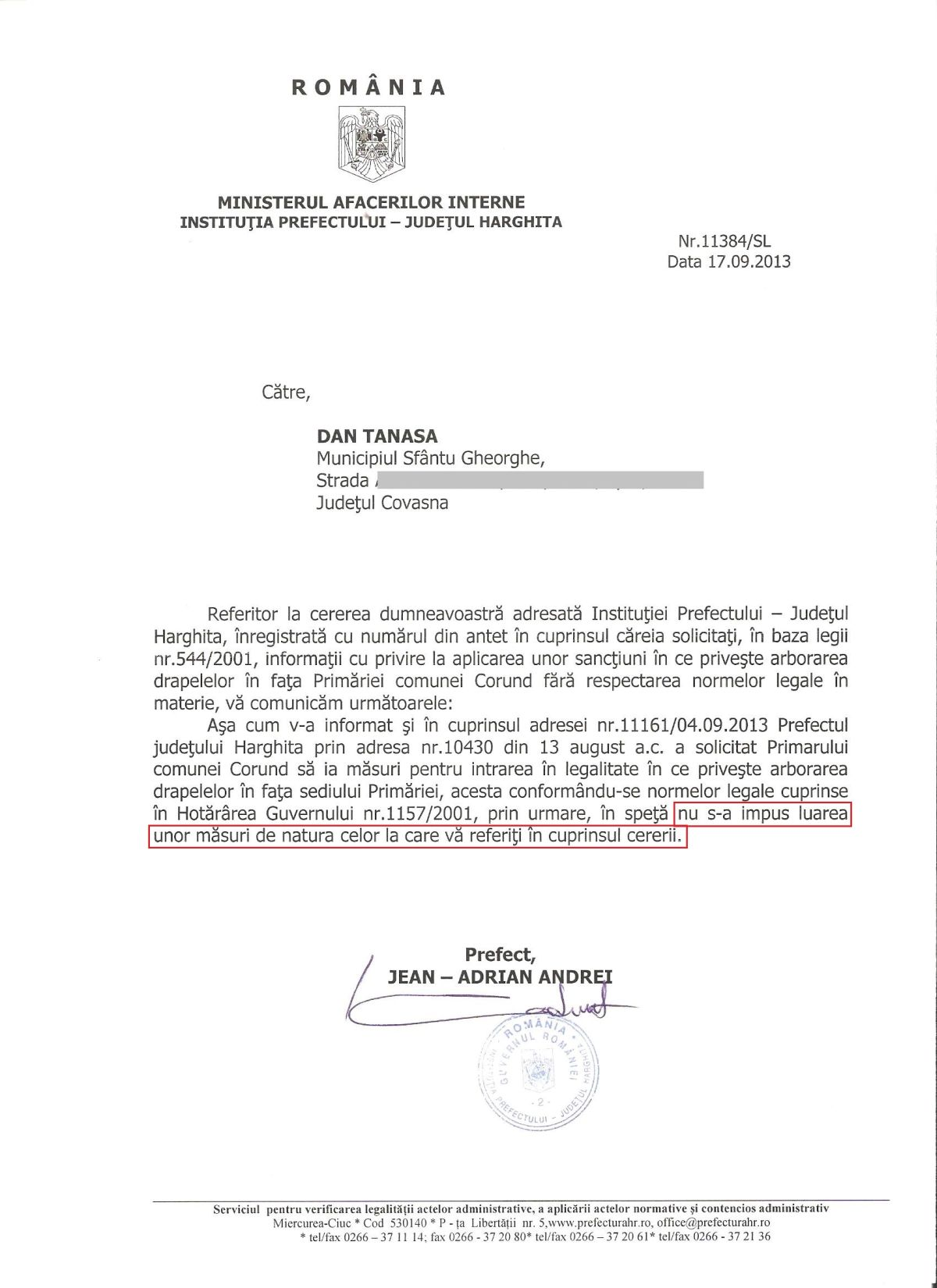 Prefect Jean-Adrian Andrei drapel Ungaria Primaria Corund Dan Tanasa