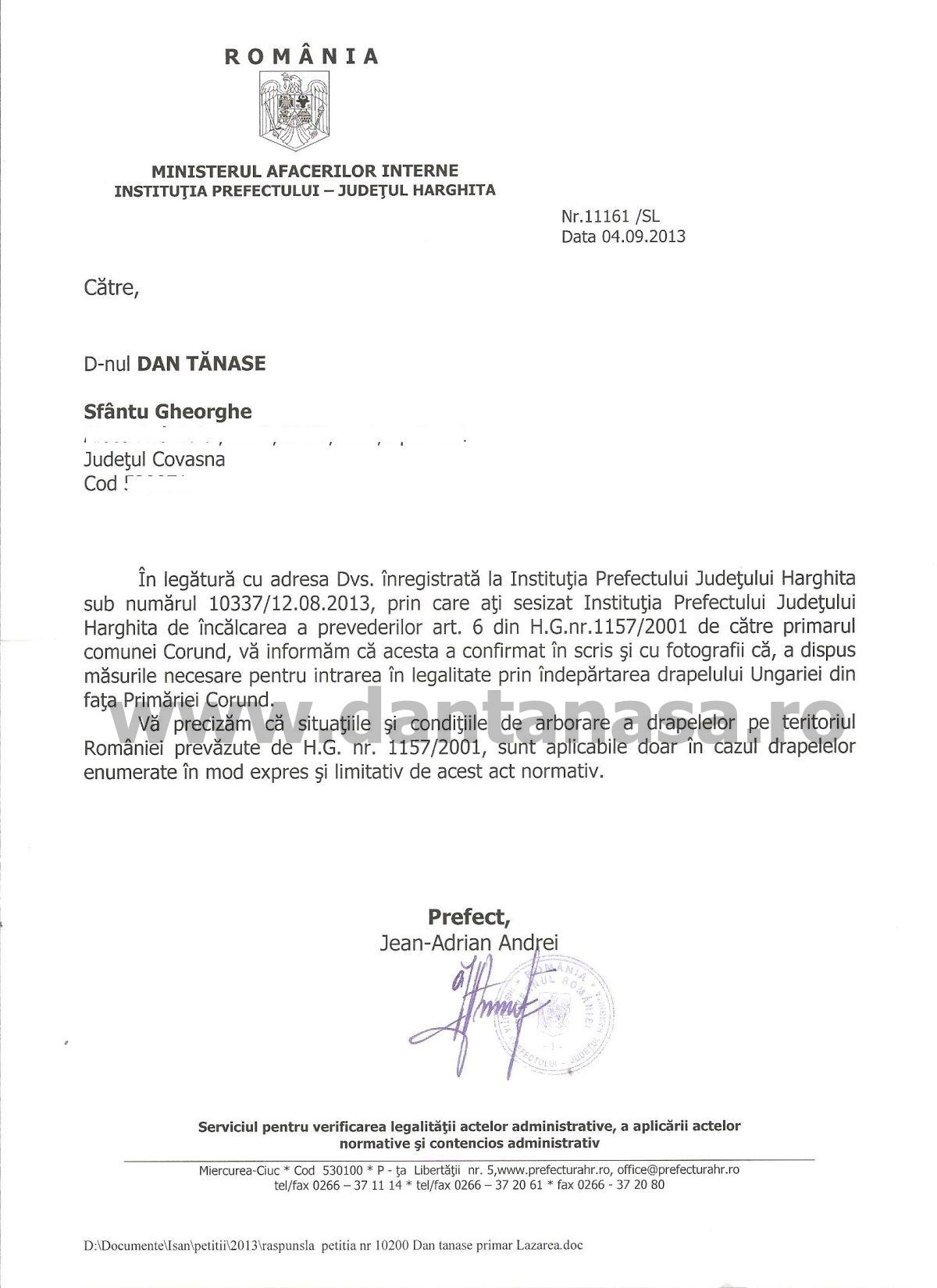 Prefectura Harghita steag Ungaria Primaria Corund Dan Tanasa