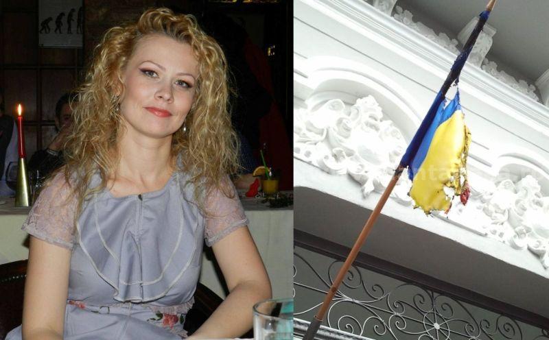 Conform propriei declarații, Alina Oprea este proprietara imobilului pe fațaa căruia era arborat, de aproape o lună, drapelul României incendiat (FOTO: facebook.com)