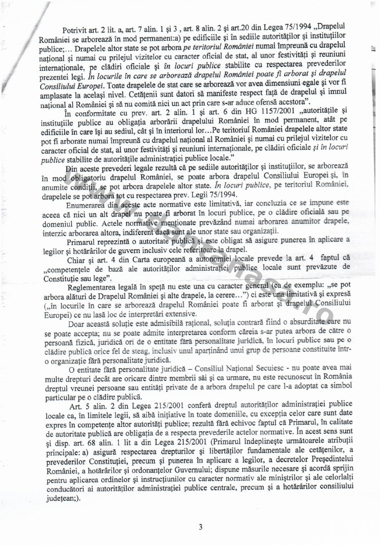 Sentinta Tribunal Covasna Prefectura Covasna steag secuiesc Chichis primarie loc public 2