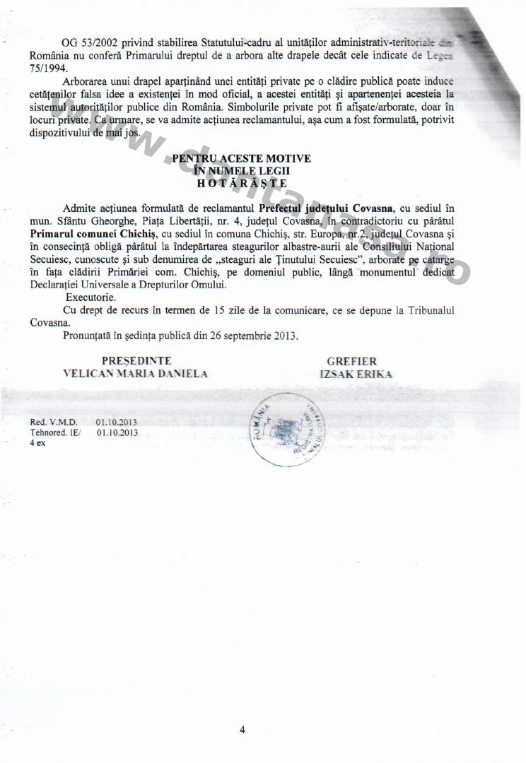 Sentinta Tribunal Covasna Prefectura Covasna steag secuiesc Chichis primarie loc public 3