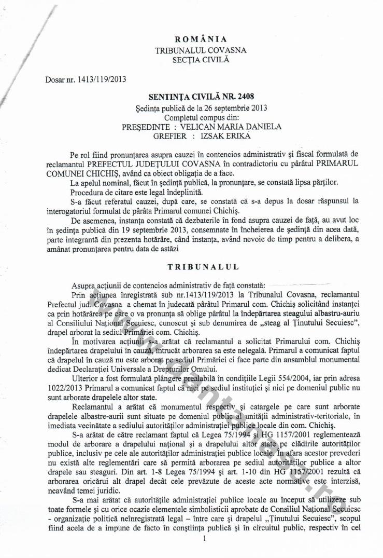 Sentinta Tribunal Covasna Prefectura Covasna steag secuiesc Chichis primarie loc public