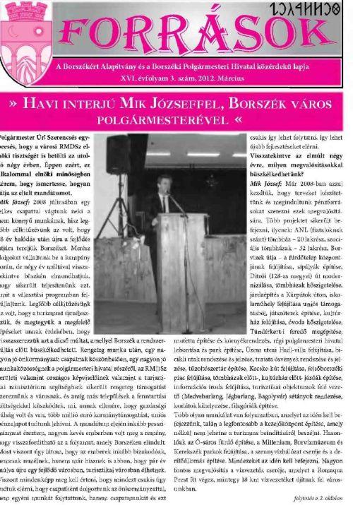 Ziar local Borsec limba maghiara Forrasok