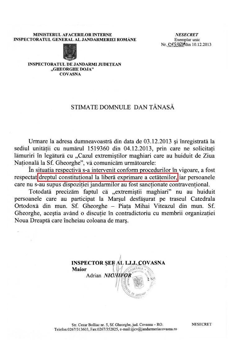 Inspectorat Jandarmi Covasna Dan Tanasa extremisti maghiari Ziua Nationala 2013