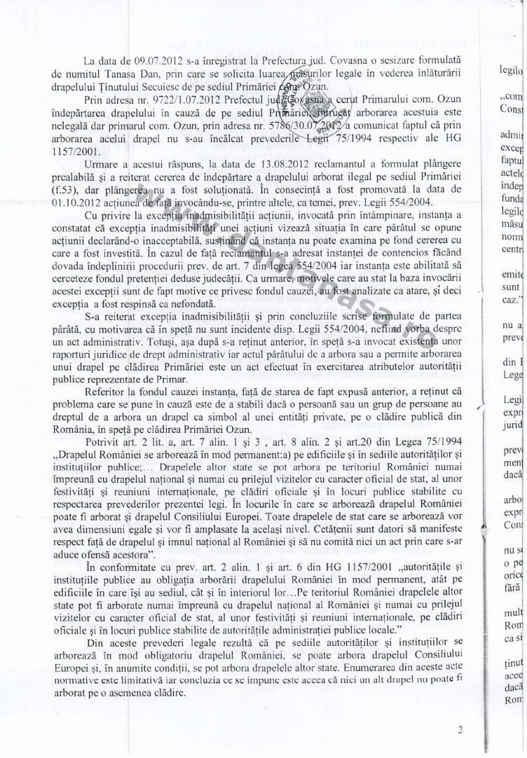 Prefect Covasna Dan Tanasa sentinta Curtea de Apel Brasov steag secuiesc primarie ozun 2