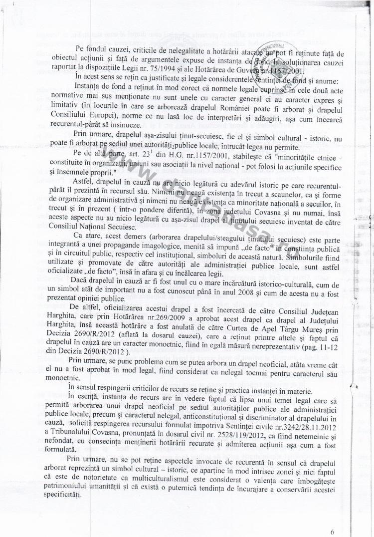 Prefect Covasna Dan Tanasa sentinta Curtea de Apel Brasov steag secuiesc primarie ozun 6