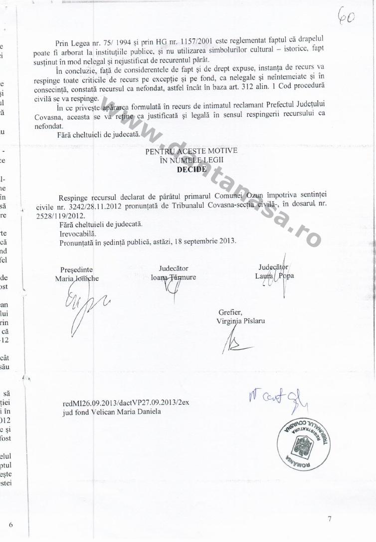 Prefect Covasna Dan Tanasa sentinta Curtea de Apel Brasov steag secuiesc primarie ozun 7