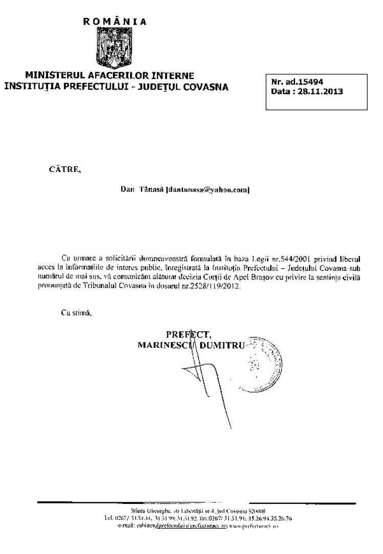 Prefect Covasna Dan Tanasa sentinta Curtea de Apel Brasov steag secuiesc primarie ozun