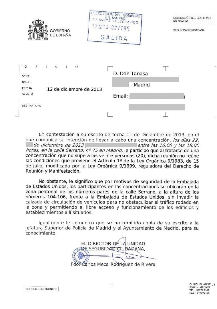 Protesta Embajada Estados Unidos Madrid Chevron