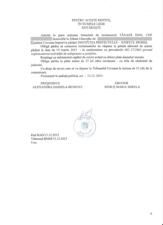 Tribunal Covasna Prefect Mures Corneliu Grosu obligat raspuns petitie Dan Tanasa 5