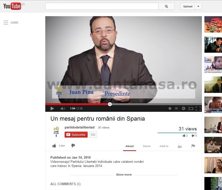 """Juan Pina, președintele P-LIB se folosește de sigla """"Roșia Montană"""" și de imaginea grupului """"Salvemos Roșia Montană - Madrid"""" pentru a-și face campanie electorală în Spania"""