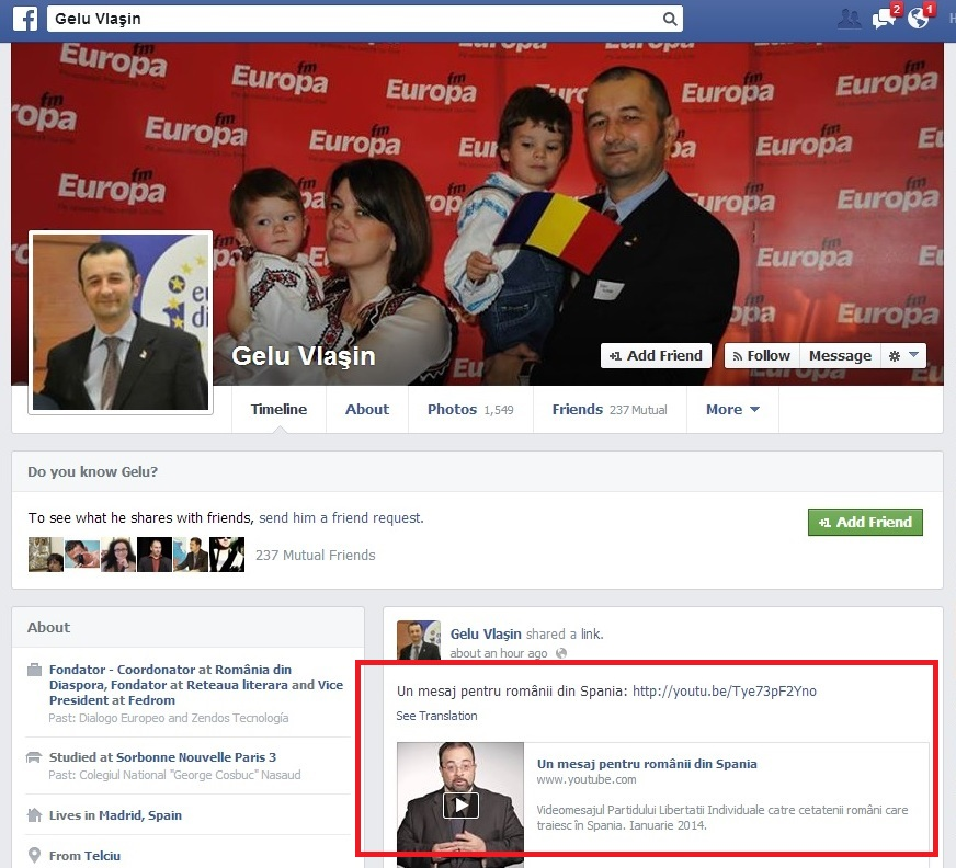 PNL Spania gelu vlasin facebook propaganda electorala Partido de la Libertad Individual