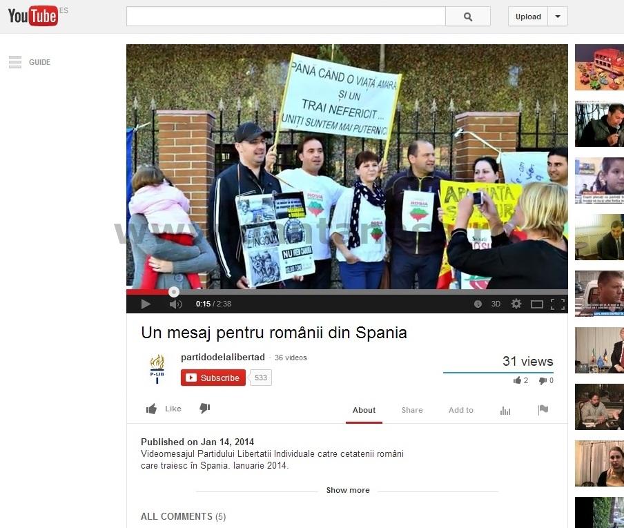 """O fotografie a grupului """"Salvemos Roșia Montană Madrid"""" apare în videoclipul electoral al partidului P-LIB postat pe Youtube"""