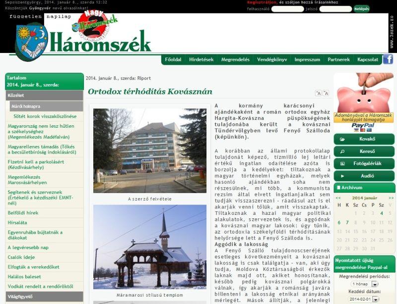"""""""Expansiune ortodoxă în Covasna"""" titrează cotidianul Haromszek azi, pe prima pagină."""