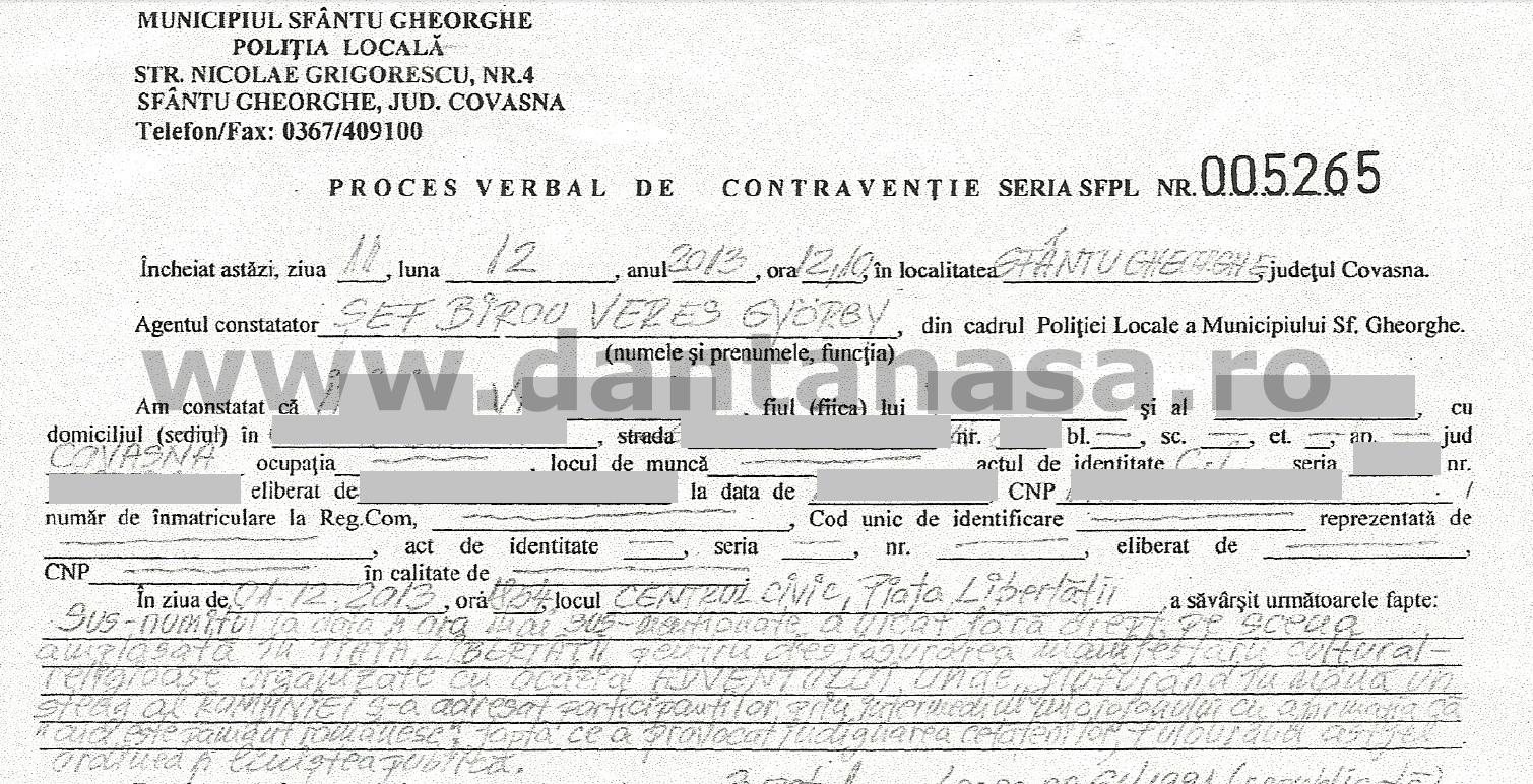 proces verbal amenda 1 decembrie sfantu gheorghe detaliu