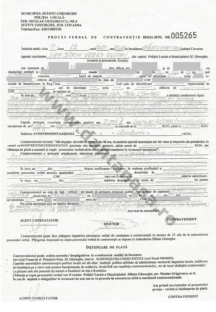 proces verbal amenda 1 decembrie sfantu gheorghe