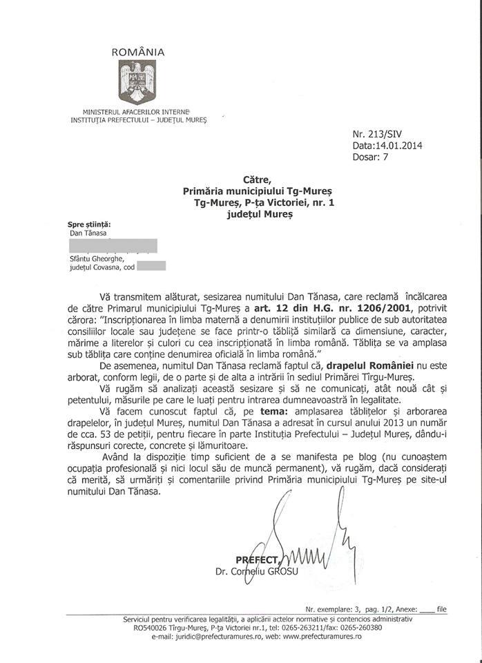 Prefect Corneliu Grosu Dan Tanasa Primar Tg Mures