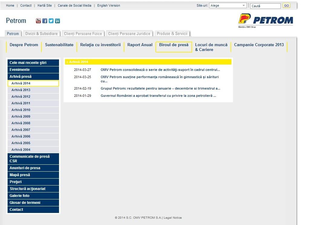 Pagina de internet a Petom cu conține nicio poziție oficială cu privire la evenimentul tragic