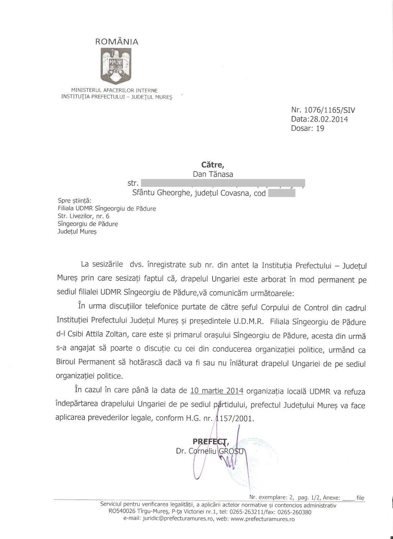 UDMR Sangeorgiu de Padure Prefect Mures drapel Ungaria Dan Tanasa