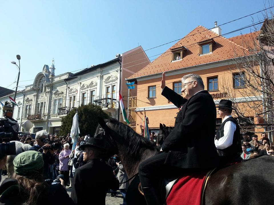 Vicepremierul Ungariei Semjén Zsolt, azi la Târgu Secuiesc (FOTO: Hodor Levente, facebook.com)
