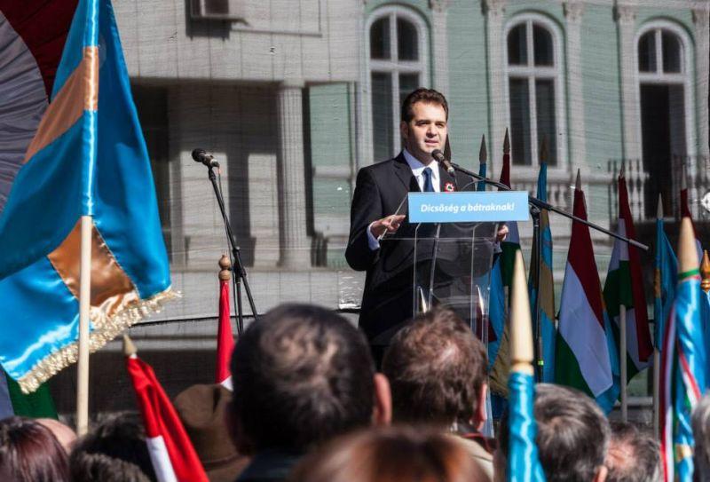 Primarul UDMR din Sfântu Gheorghe la manifestările de 15 martie 2014 (FOTO: facebook.com)