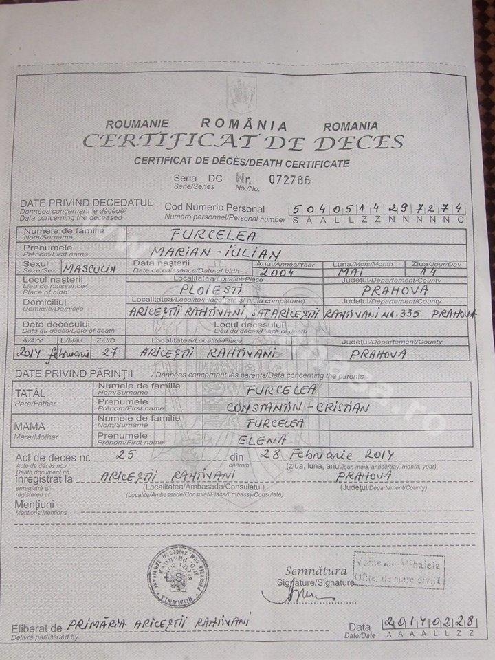 certificat deces marian furcelea