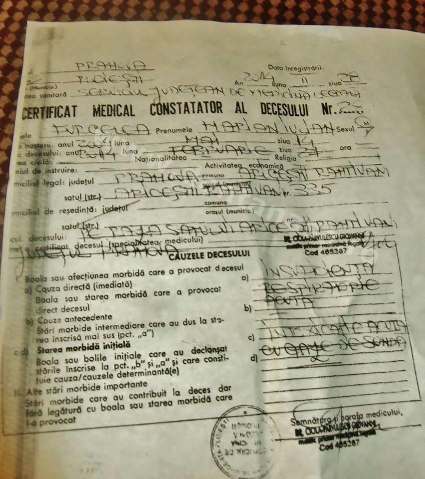 certificat medical constatator al decesului marian furcelea