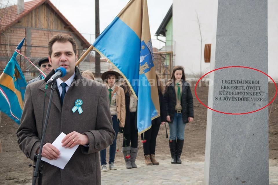 10 martie 2014, Sfântu Gheorghe. Primarul UDMR inaugureză un monument dedicat unui simbol al Ungariei Mari (FOTO: facebook.com)