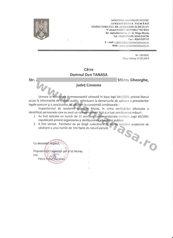 sanctiuni miting secui 10 martie 2014 Targu Mures Jandrmerie Dan Tanasa