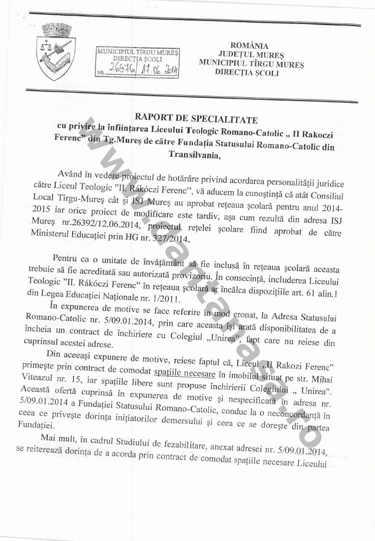 Directia Scoli Primaria Tg Mures infiintare Rakoczi