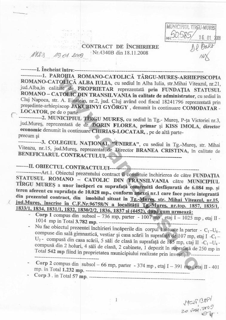 contract inchiriere cladire colegiu national unirea 2008