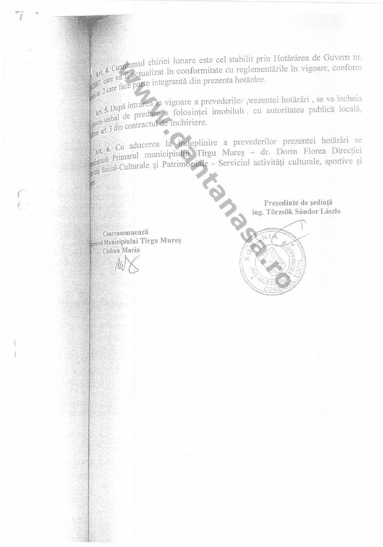 hotarare consiliu local tg mures imobil colegiu unirea 2008 1