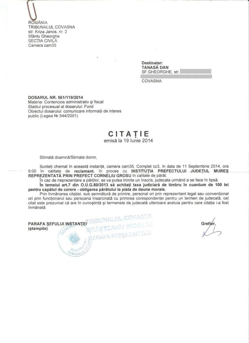 proces tribunal covasna taxa timbru OUG 80 2013