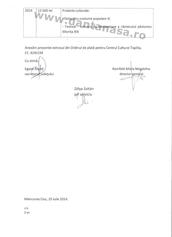 Adresa CJ Harghita Dan Tanasa fonduri Centrul Cultural Toplita 2008 2014 2