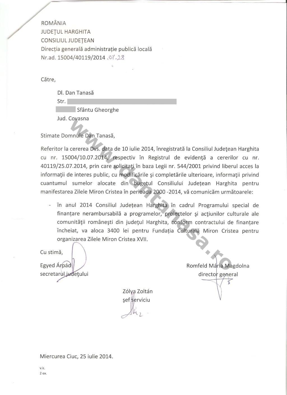 Adresa CJ Harghita Dan Tanasa fonduri Zilele Miron Cristea Toplita 2014