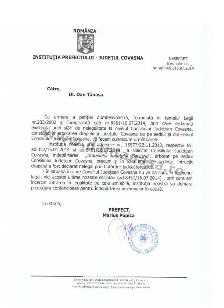 Prefectura Covasna Marius Popica Dan Tanasa steag secuiesc judet Covasna 16 iulie 2014