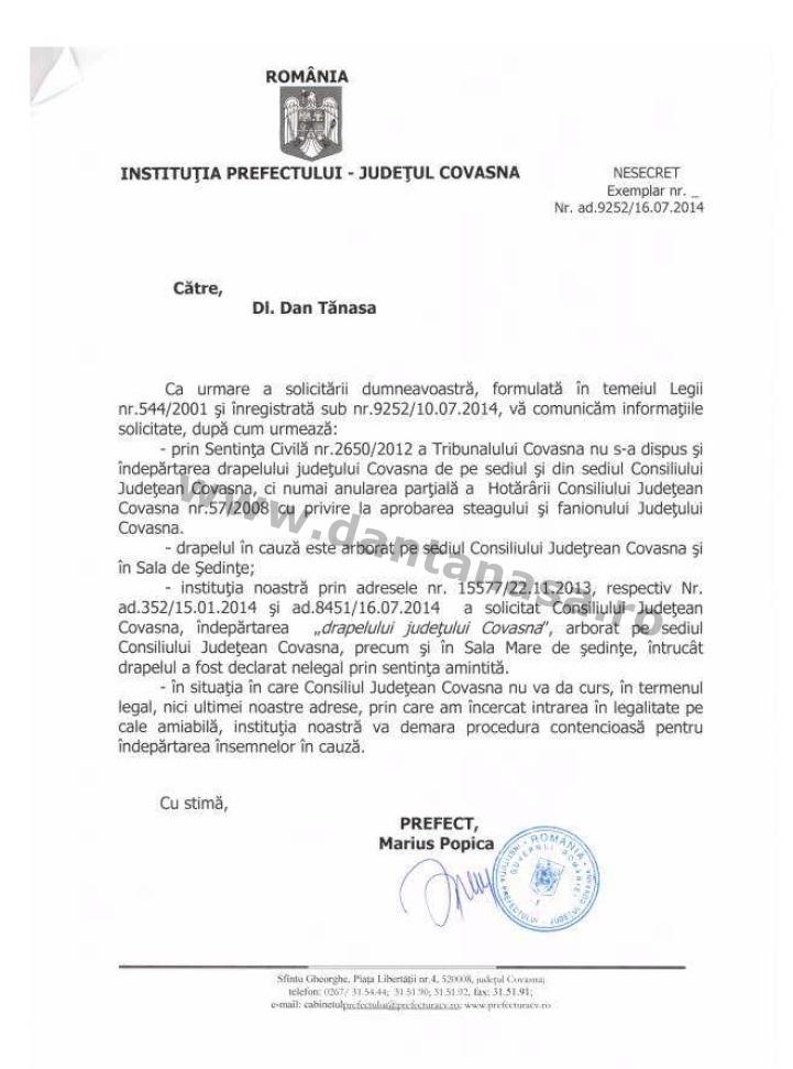 Prefectura Covasna Marius Popica Dan Tanasa steag secuiesc judet Covasna arborat 16 iulie 2014