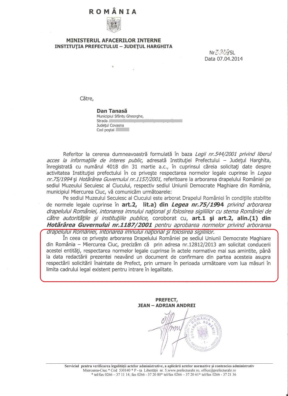 adresa aprilie 2014 prefect harghita drapel romania udmr mercurea ciuc