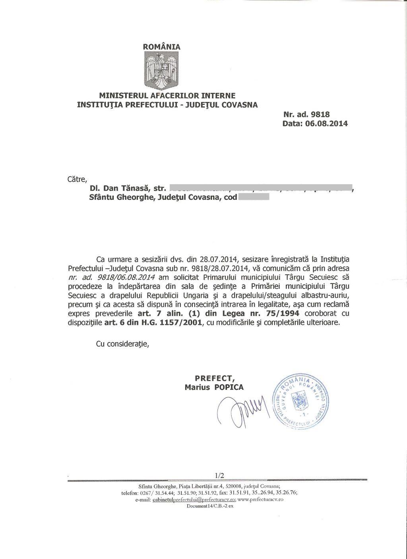 adresa prefectura covasna dan tanasa primar udmr tg secuiesc drapel ungaria august 2014