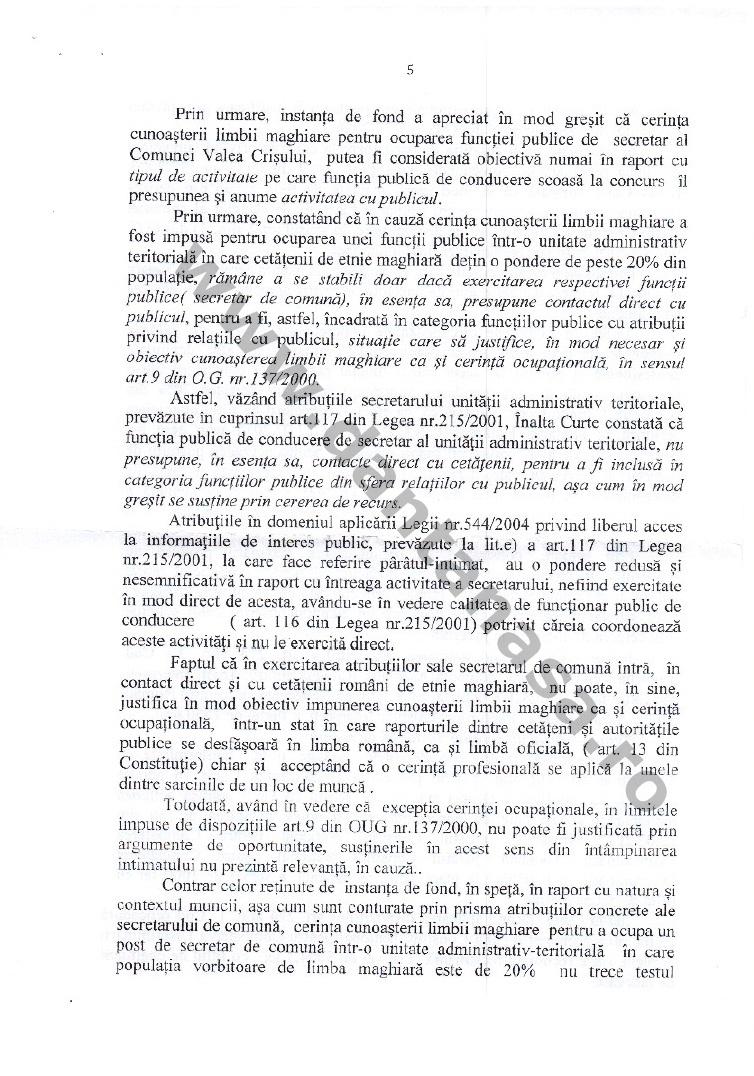dcizie ICCJ anularea hotarare CNCD limba maghiara secretar valea crisului 5
