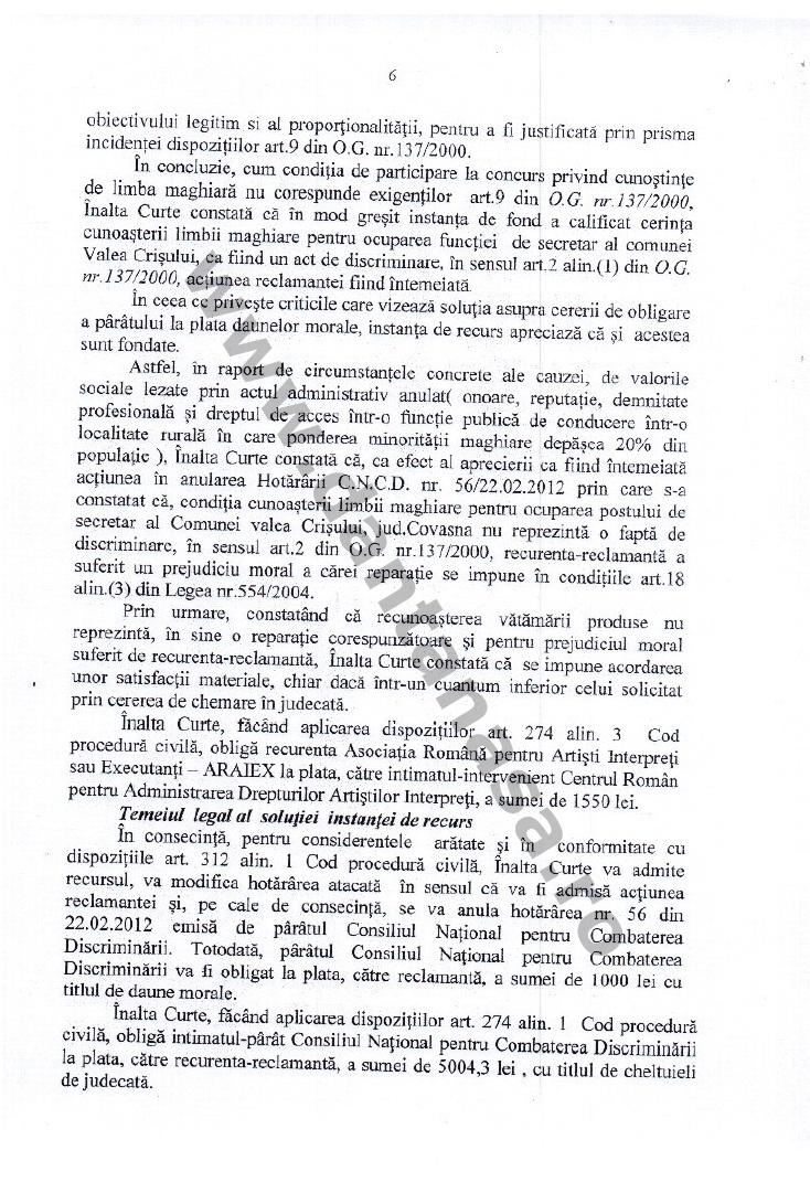 dcizie ICCJ anularea hotarare CNCD limba maghiara secretar valea crisului 6