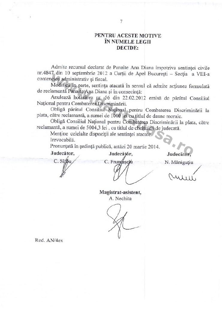 dcizie ICCJ anularea hotarare CNCD limba maghiara secretar valea crisului 7