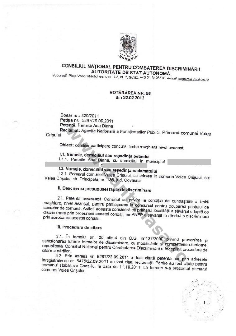 decizie CNCD limba maghiara secretar comuna valea crisului 1