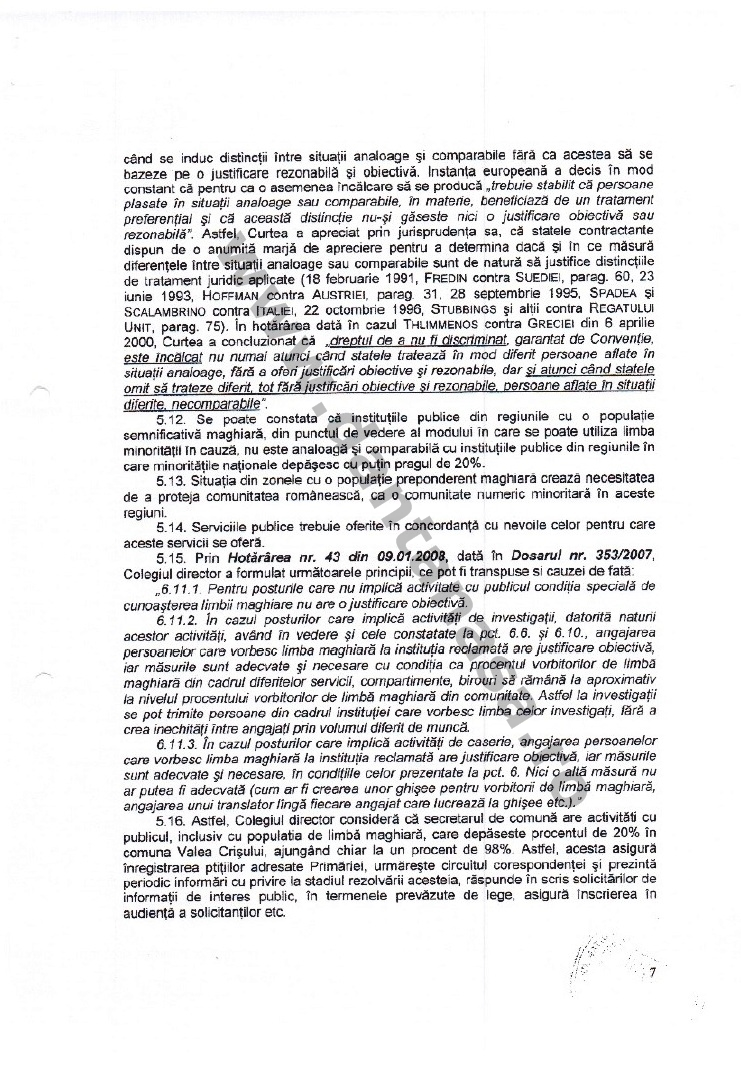 decizie CNCD limba maghiara secretar comuna valea crisului 7