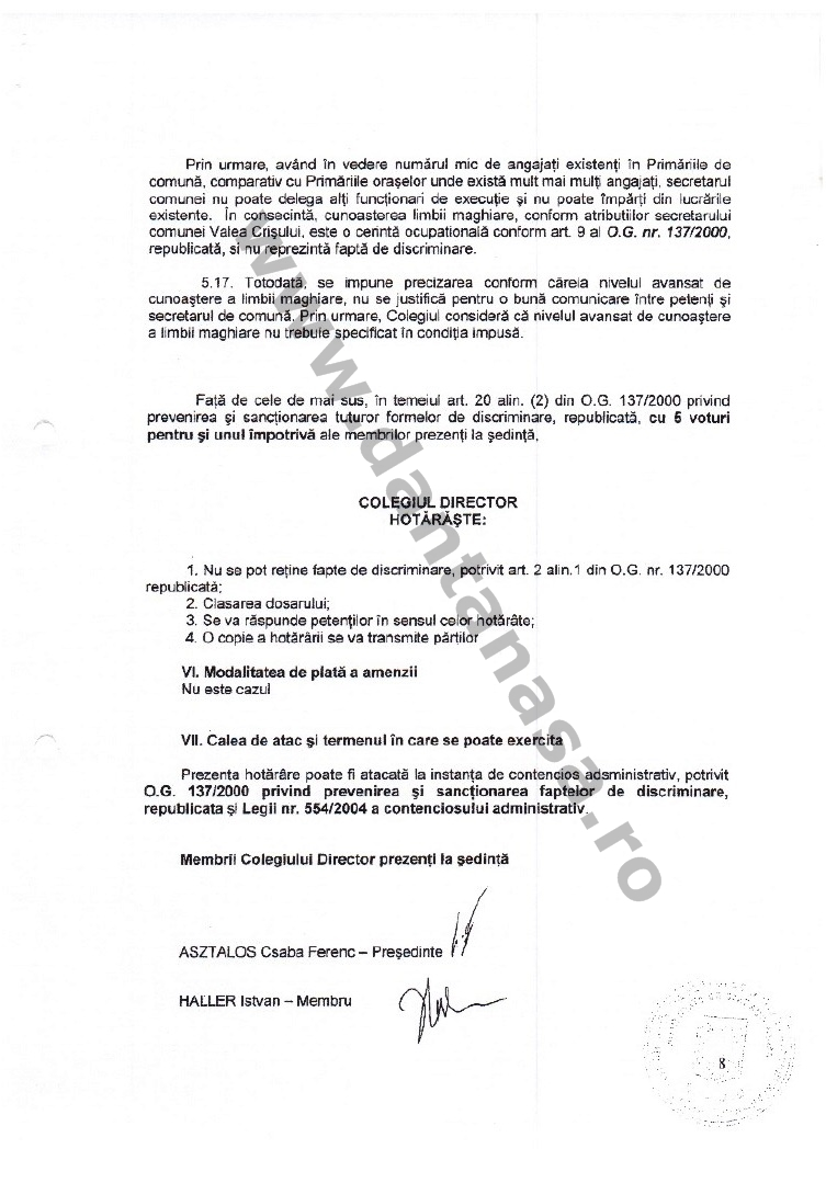 decizie CNCD limba maghiara secretar comuna valea crisului 8