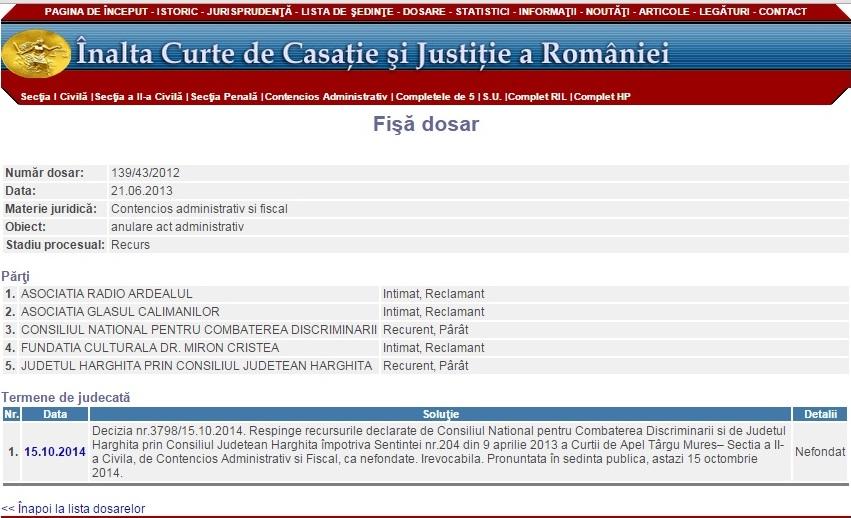 ICCJ steag judet Harghita discriminare UDMR Borboly Csaba