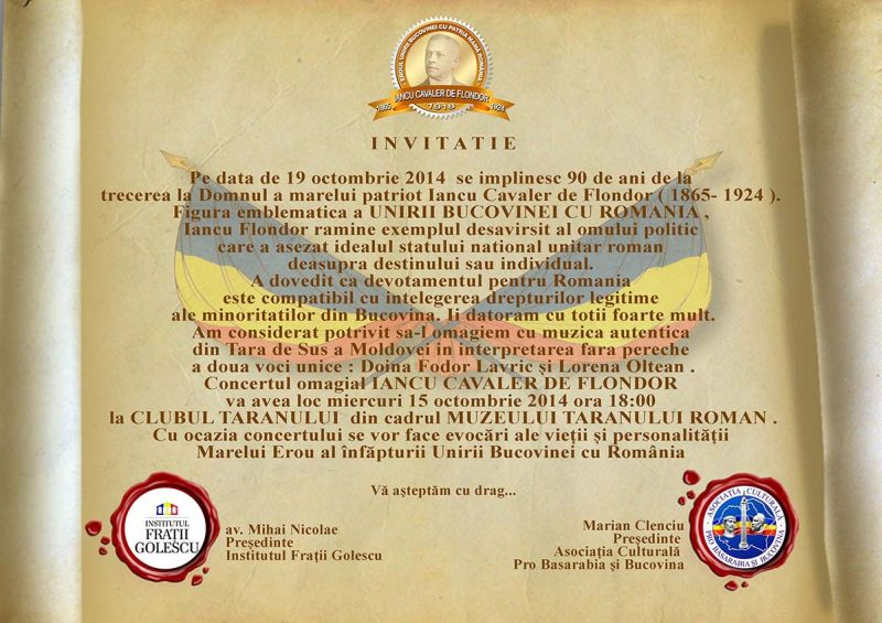 Invitatie Concert Omagial Iancu Cavaler de Flondor Bucovina 2014